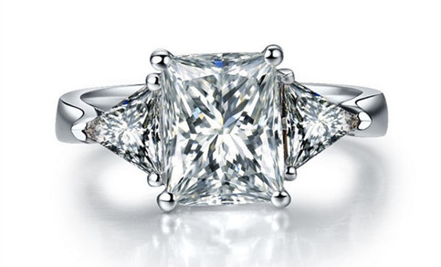 3 Ct Center Nscd Sona Princess Radiant Cut Diamond Anniversary Wedding Ring Set In