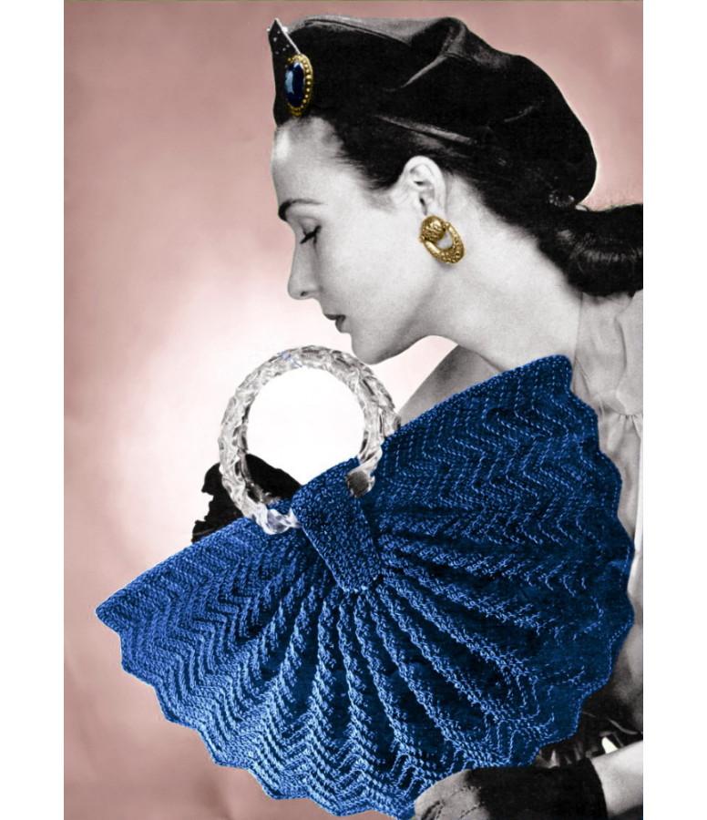 ... Look Vintage Vintage 1940s Crochet Pattern Half Moon Fan Purse