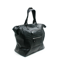Embossed Black Croco Bailey Travel and Weekender Tote