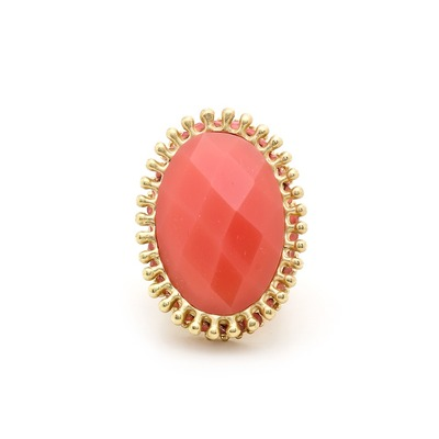 Texture treated jewel ring - coral