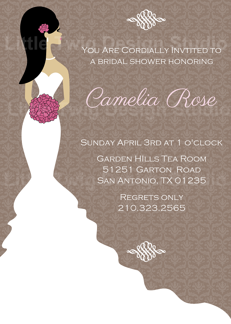 J g design studio elegant bridal wedding shower for Elegant bridal shower invitations