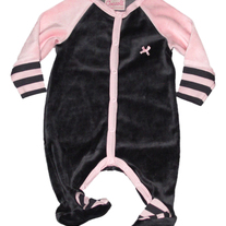 Coccoli Infant Velour Footie Pajamas- black/pink