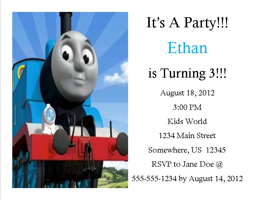 Thomas The Train Birthday Invitation 2