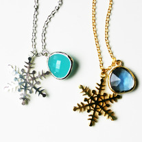 Snowflake Necklaces with Gemstone - Choose your Color