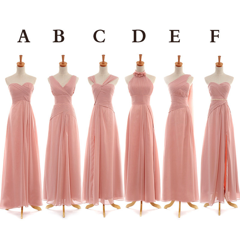 Custom Long Chiffon Blush Pink Bridesmaid Dress on Storenvy