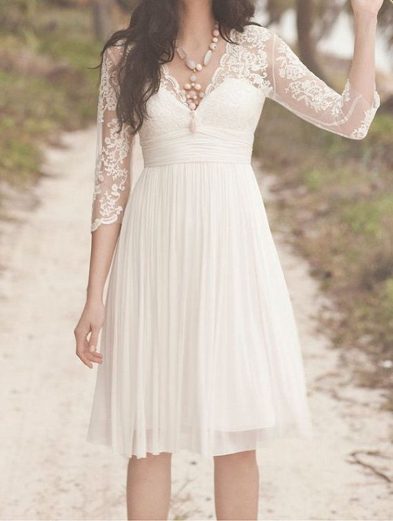 Long Sleeve Short Lace Wedding Dress