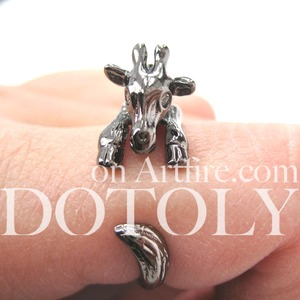 Miniature Baby Giraffe Animal Hug Ring in Gunmetal Silver Sizes 4 to 9