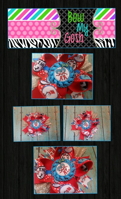 Dr. Seuss Inspired Boutique Bow