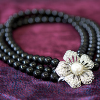 Necklace Crystal Flower with Black Beads medium photo