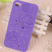 3D Floral Rose Sculpture iPhone 4/4s Hard Case Purple