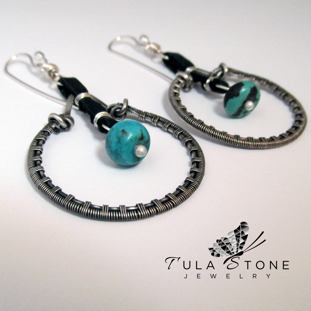Woven Sterling Leather And Turquoise Dangles 183 Tula Stone