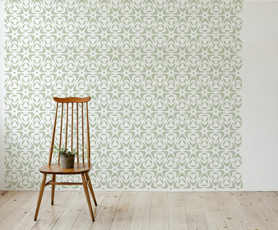 Moroccan wall stencil floral style scandinavian large Scandinavian wallpaper and decor