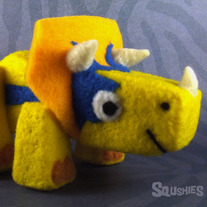 Remington the Triceratops - Needle Felted Dinosaur Sculpture