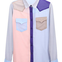 Color Block Chiffon Pastel Button Up Shirt
