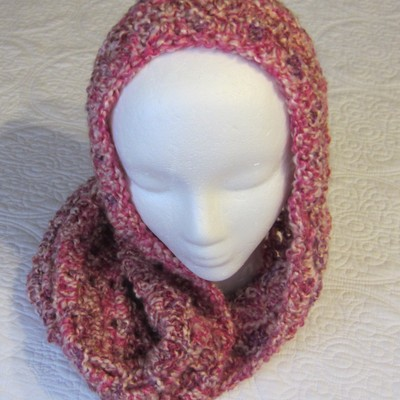Crochet Cowl Infinity Scarf Hooded Scarf Made With Lion Brand