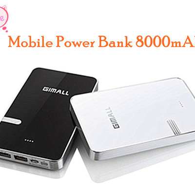 Mobile power bank for iphone / ipad / ipod / cell phone / tablet computer 8000mah