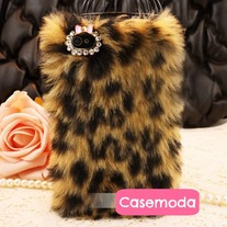 New Chic Brown Leopard Pattern Synthetic Fur iPhone Case Cover