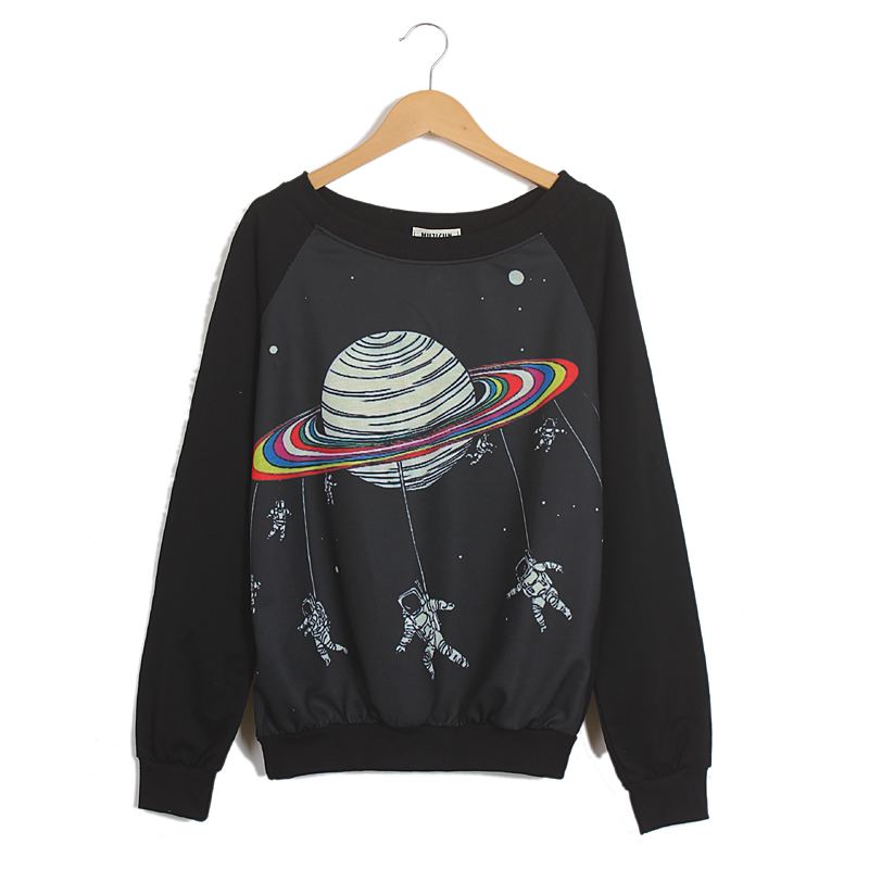 Outer space astronaut round neck long sleeve t shirts two for Outer space clothing
