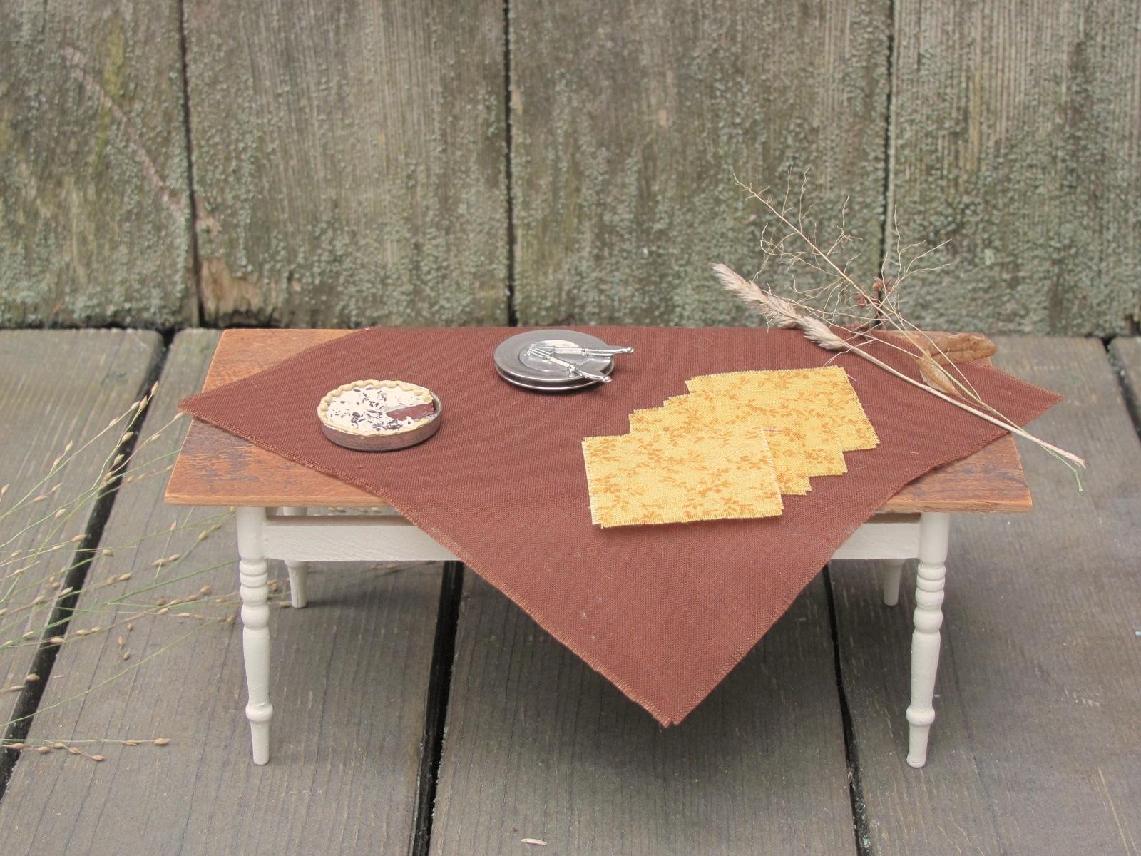 rustic fall woodland brown table cloth u0026 napkin set 1 12 scale
