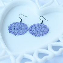 Lavender Medallion Shaped Filigree Earrings