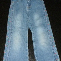 Jeans with Lace/Flowers on Side of Leg-Baby Squeeze Size 3T