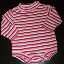 Red/Pink/White Stripe Turtleneck Onesie-George Size 12 Months