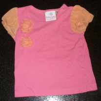 Pink Short Sleeve Shirt with Orange Flowers/Sleeves-Baby Lulu by Erin Murphy Size 3T