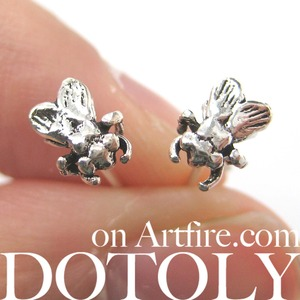 3D Sterling Silver Realistic Mosquito Fly Insect Animal Stud Earrings