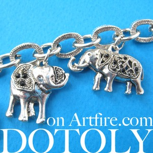 Detailed Elephant Parade Animal Charm Chain Linked Bracelet in Silver