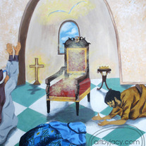 "8x10 Matte Print, ""At His Throne"" Acrylic Painting Illustration"