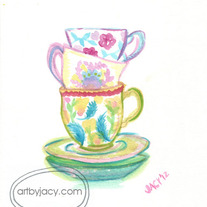 """Tea for Three"" Matte Print Watercolor Vintage Illustration"