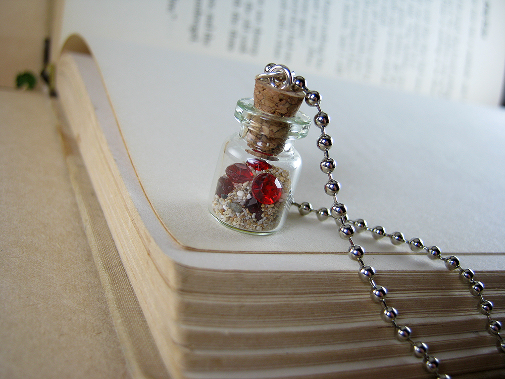 Magic fantastic red queen miscellanea online store powered by buried treasure glass bottle necklace red gems vial pendant charm mozeypictures Choice Image