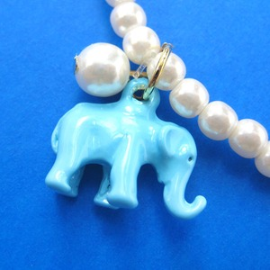 Elephant Animal Stretchy Bracelet in Turquoise Blue with Pearls