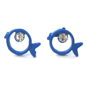 Small Round Fish Sea Animal Stud Earrings with Rhinestones in Blue