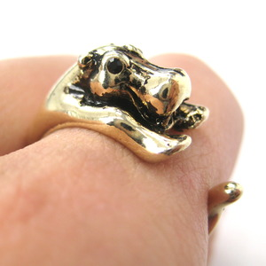 Miniature Baby Hippo Animal Wrap Around Ring in Shiny Gold - Sizes 5 to 9