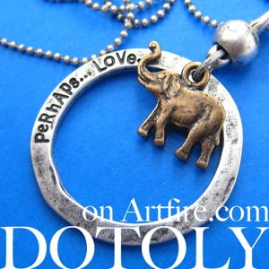 Elephant Animal Hoop Pendant Necklace in Bronze on Silver