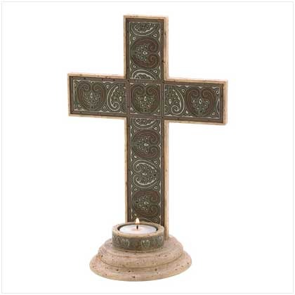 Sage Cross Tealight Holder