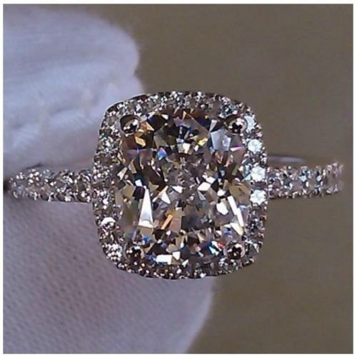 3 cttw 2 ct Center Cushion Cut NSCD SONA Diamond Engagement Wedding Ring Size