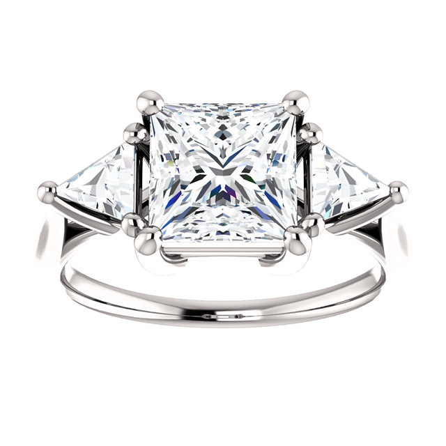 Moissanite 2CT Center Princess Cut & Trillon Diamond Prong Set Sides Enga