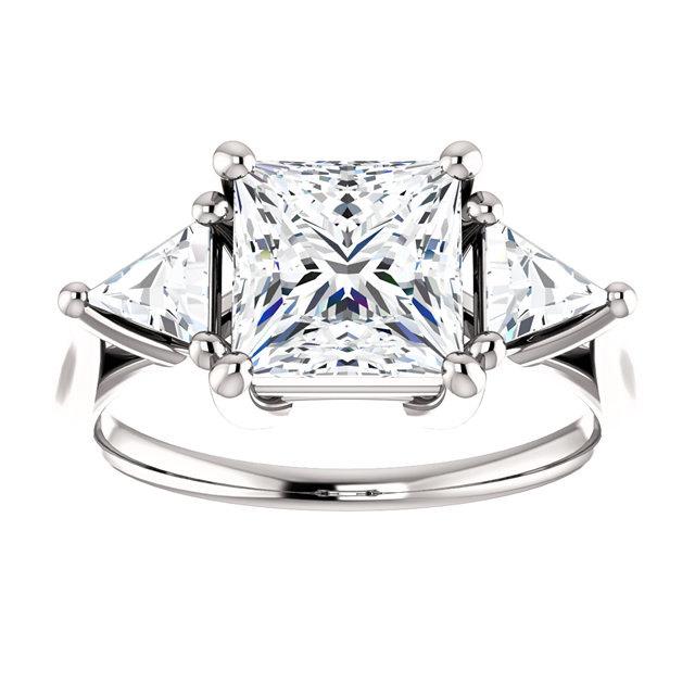 Moissanite 2CT Center Princess Cut & Trillon Diamond Prong Set Sides Enga
