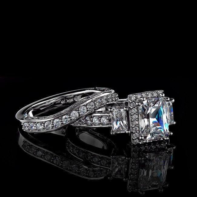 3 64Ct Radiant Cut Man Made Diamond Engagement Wedding Ring Set in 14K White