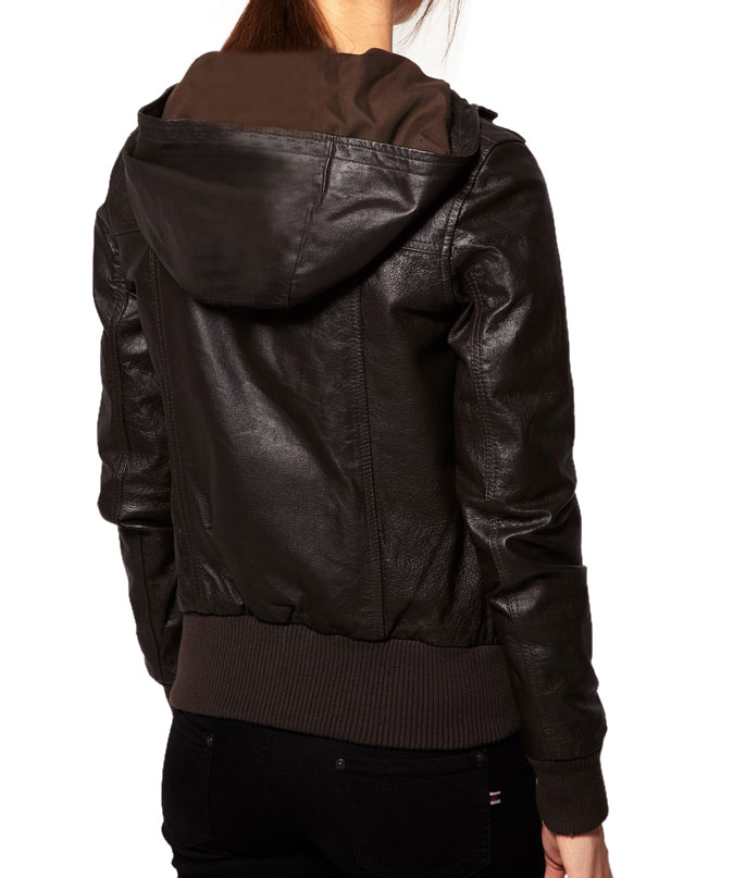 WOMENS BROWN COLOR LEATHER JACKET, HOODED LEATHER JACKET WOMEN ...
