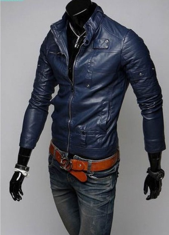 NAVY BLUE LEATHER JACKET MEN'S, MEN SLIM FIT BIKER JACKET ...