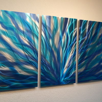 Radiance Blue  Metal Wall Art Abstract Contemporary Modern Decor