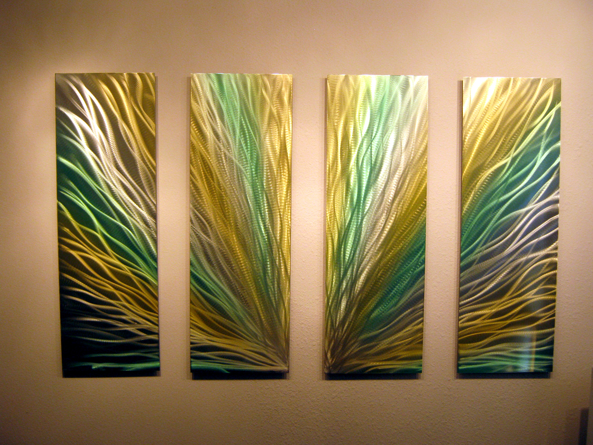 """Radiance 36"""" Green & Gold - Metal Wall Art Abstract ..."""