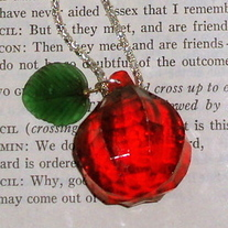 Red Bling Cherry Gem Rockabilly Necklace Green Leaf Pendant Silver Chain Charms