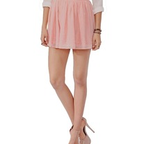 L forever 21 peach pink flower embroidered chiffon full mini skirt