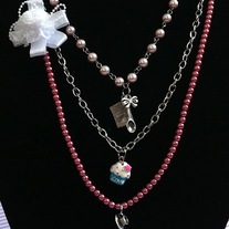 Pink Pearl Blue Cupcake Silver Bow Spoon Cards Charm Teacup Pendant Necklace