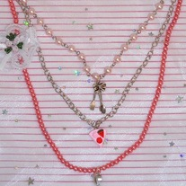 Pink Sweet Tea Party Pearl Charm Necklace w cake fork & spoon pendants
