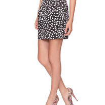 In Sm & Med - black white satin polka dot animal print pencil mini skirt pin-up
